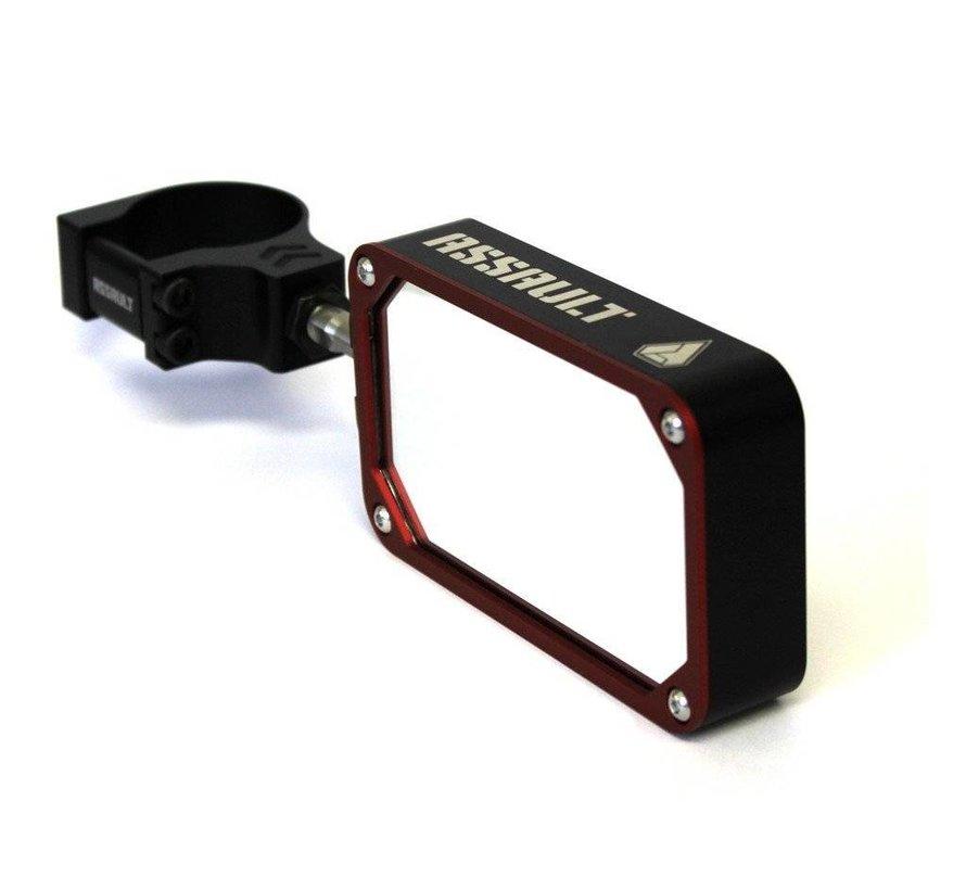 COMBAT Billet Side Mirror (set) w/Clamp Black/Red