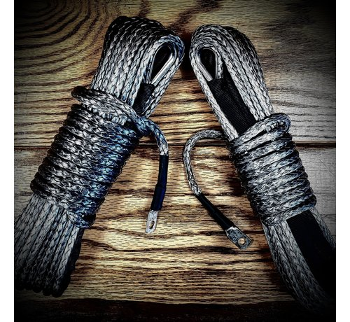 """WLO - Winch Rope 1/4"""" x 50' (with loop & thimble) - Gray"""