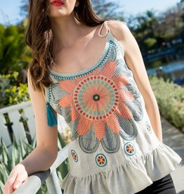 THML Embroidered Flower Top