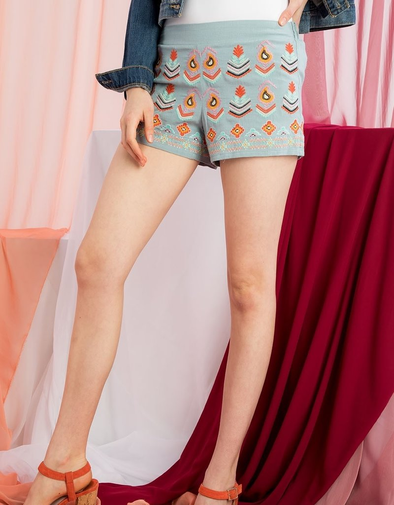 THML Embroidered Paisley Shorts