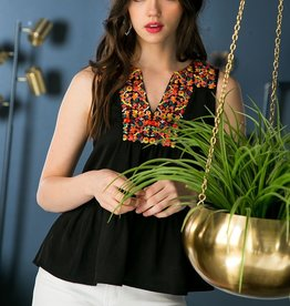 THML Embroidered Peplum Top