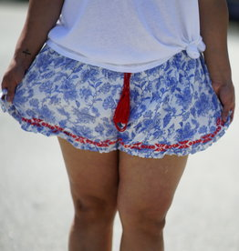 Papercrane Printed Shorts with Embroidery