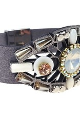 Sweet Lola Grey faux suede with milky opal and topaz crystals Bracelet