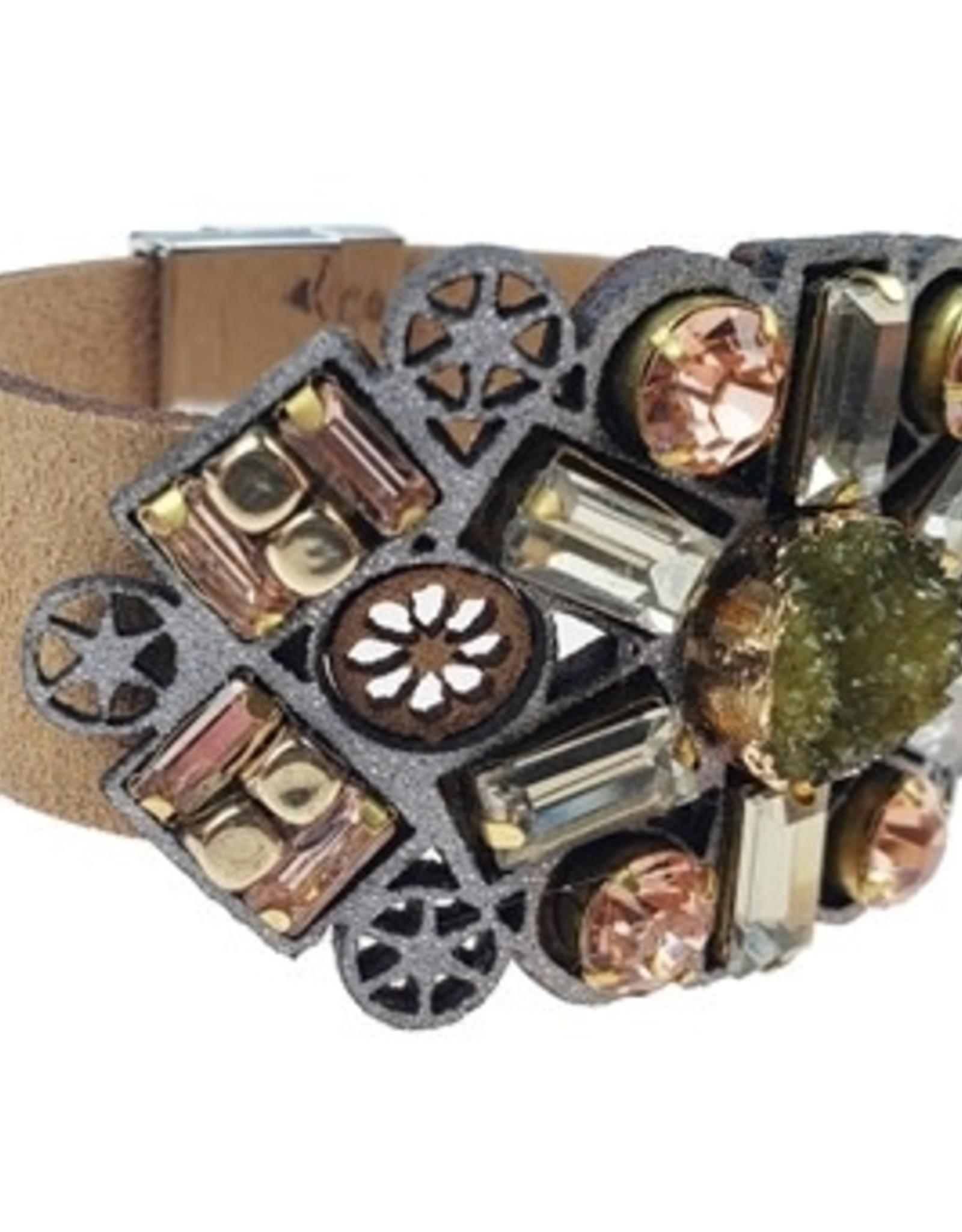 Sweet Lola Faux suede, crystals, natural gemstone Bracelet
