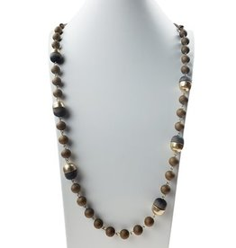 Sweet Lola Necklace in  Taupe leather with wood and gold balls
