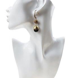 Sweet Lola Wood & Gold Ball Earrings