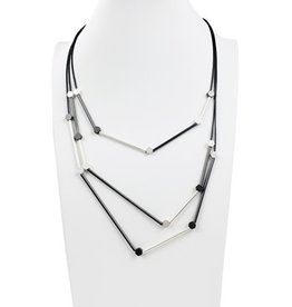Sweet Lola Modern Necklace in shades of Silver & Gray