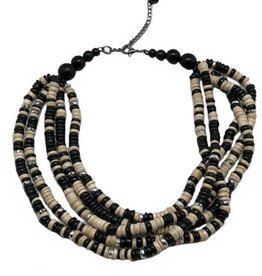 Sweet Lola Black & Ivory Bead Coco Shell Necklace