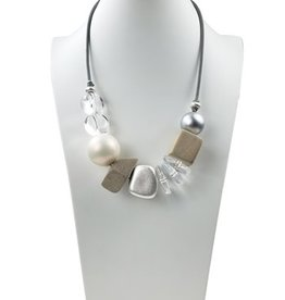 Sweet Lola Leather, Wood, Faux Pearl, and Lucite Statement Necklace