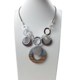 Sweet Lola Wood & Resin Necklace on Taupe Leather with Silver Circles
