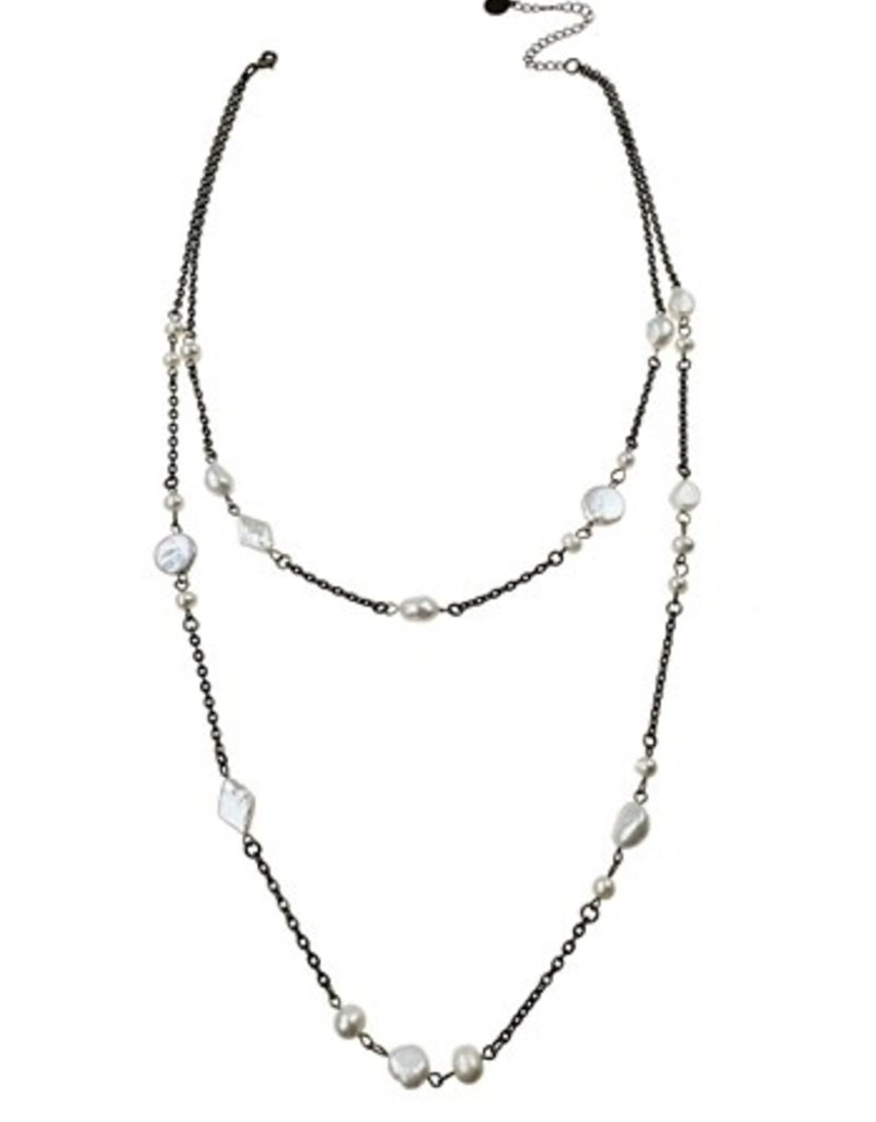 Sweet Lola Layered Freshwater Pearl & Antique Bronze Necklace