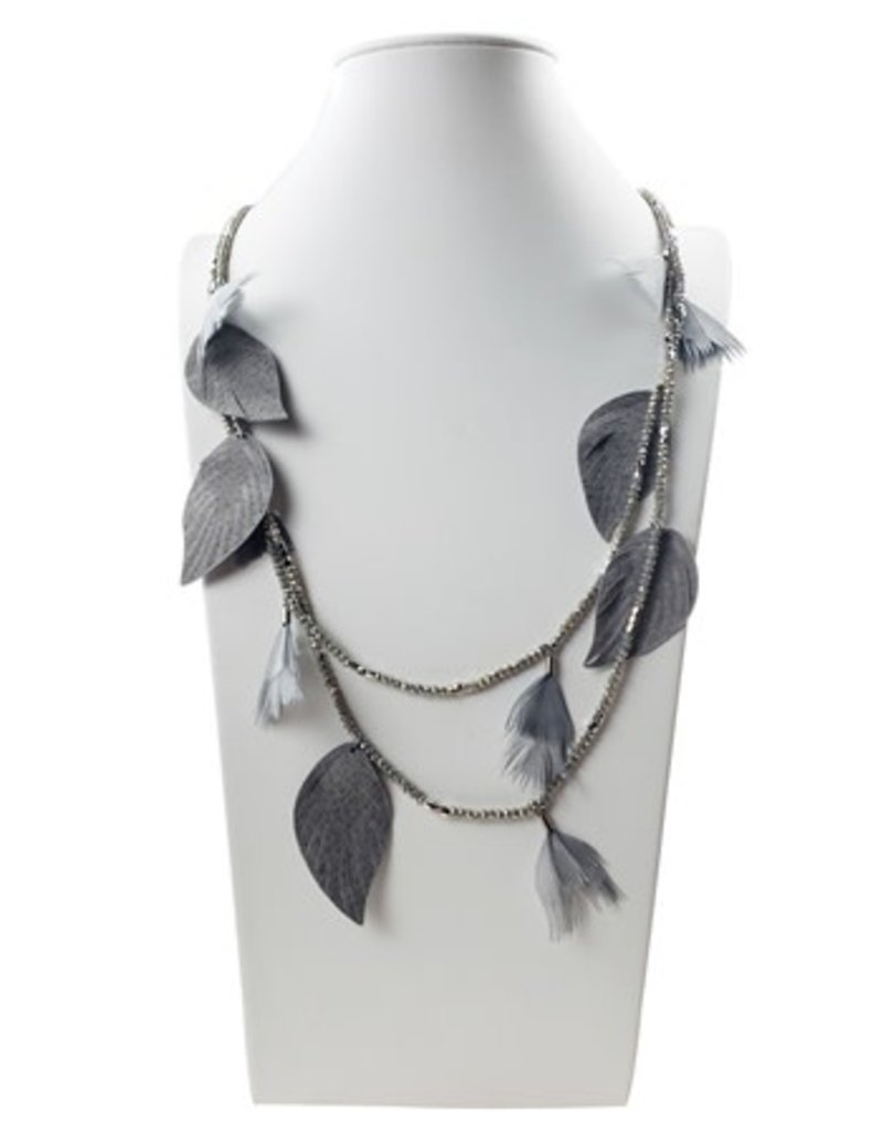 Sweet Lola Gray Leather & Feather Statement Necklace