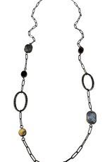 Sweet Lola Gemstone & Antique Bronze Long Necklace