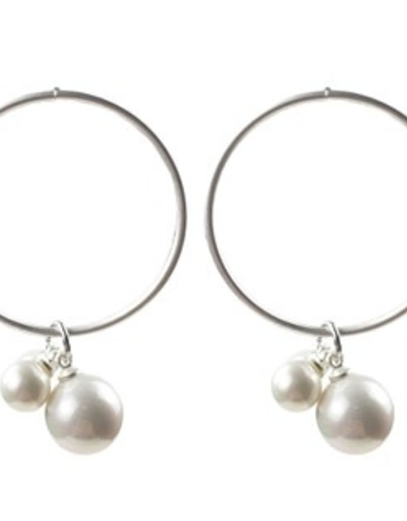 Sweet Lola Matte Silver Hoops with Faux Pearls