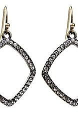 Sweet Lola Antique Bronze Diamond Hoop with Clear Crystal Earrings