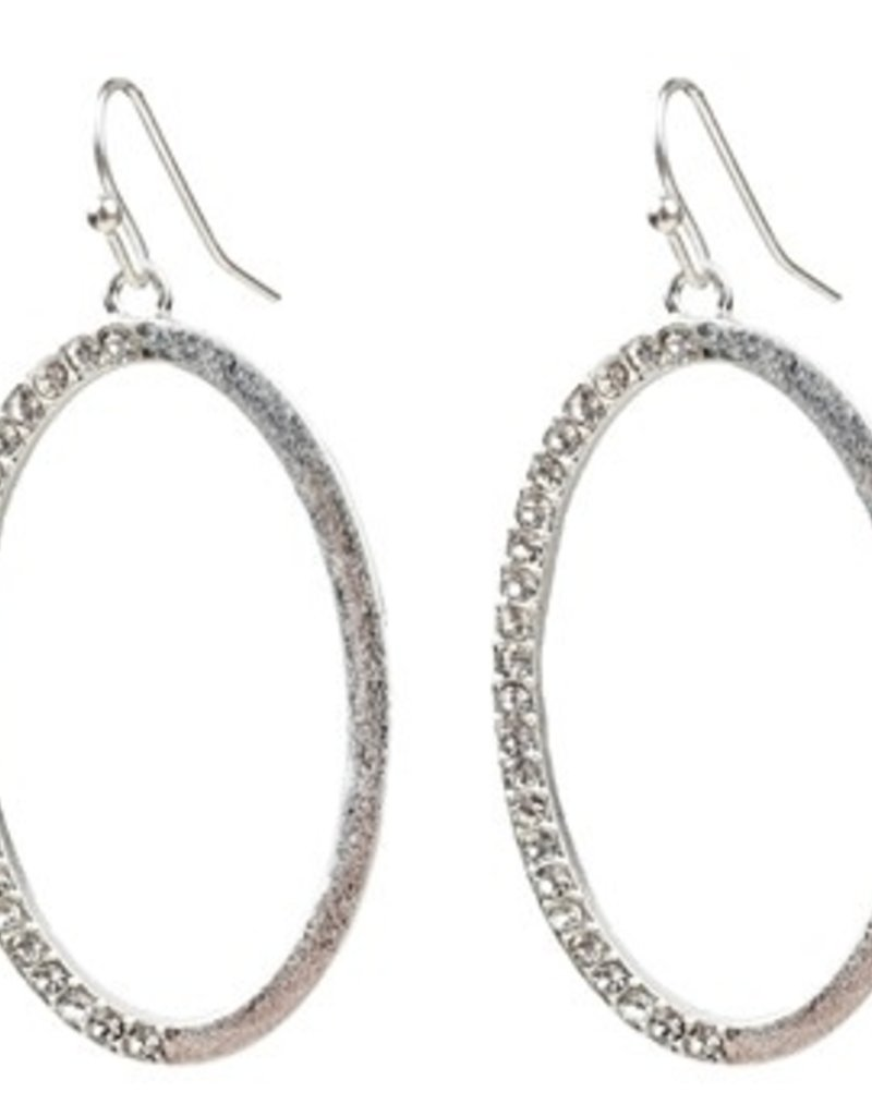 Sweet Lola Silver Oval Hoop Earrings with Clear Crystals