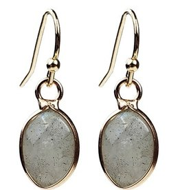 Sweet Lola Small Gold Oval Labradorite Gemstone Earrings