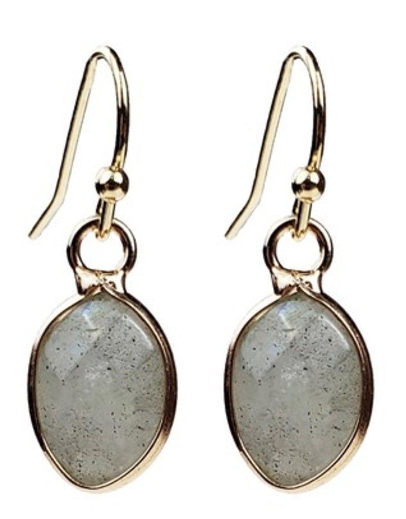 Sweet Lola Small Gold Oval Labradorite Gemstone Earrings