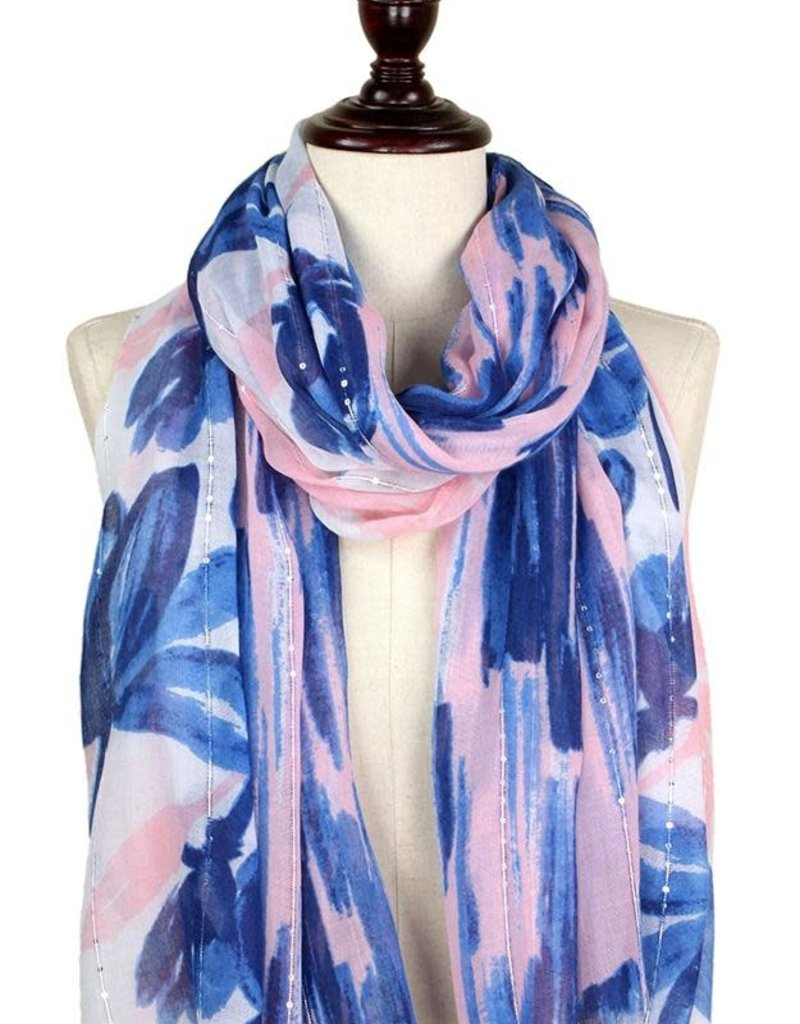LIB Flower Print Scarf with Sequins