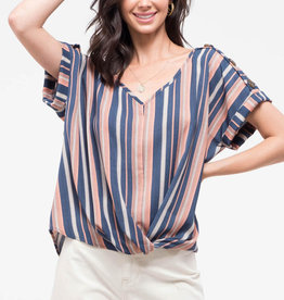 Blu Pepper Twist Front Striped Top