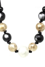 Blue Suede Jewels Black Ivory & Gold Ball Necklace
