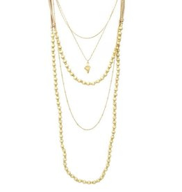 Blue Suede Jewels Layered Beaded and Gold Necklace