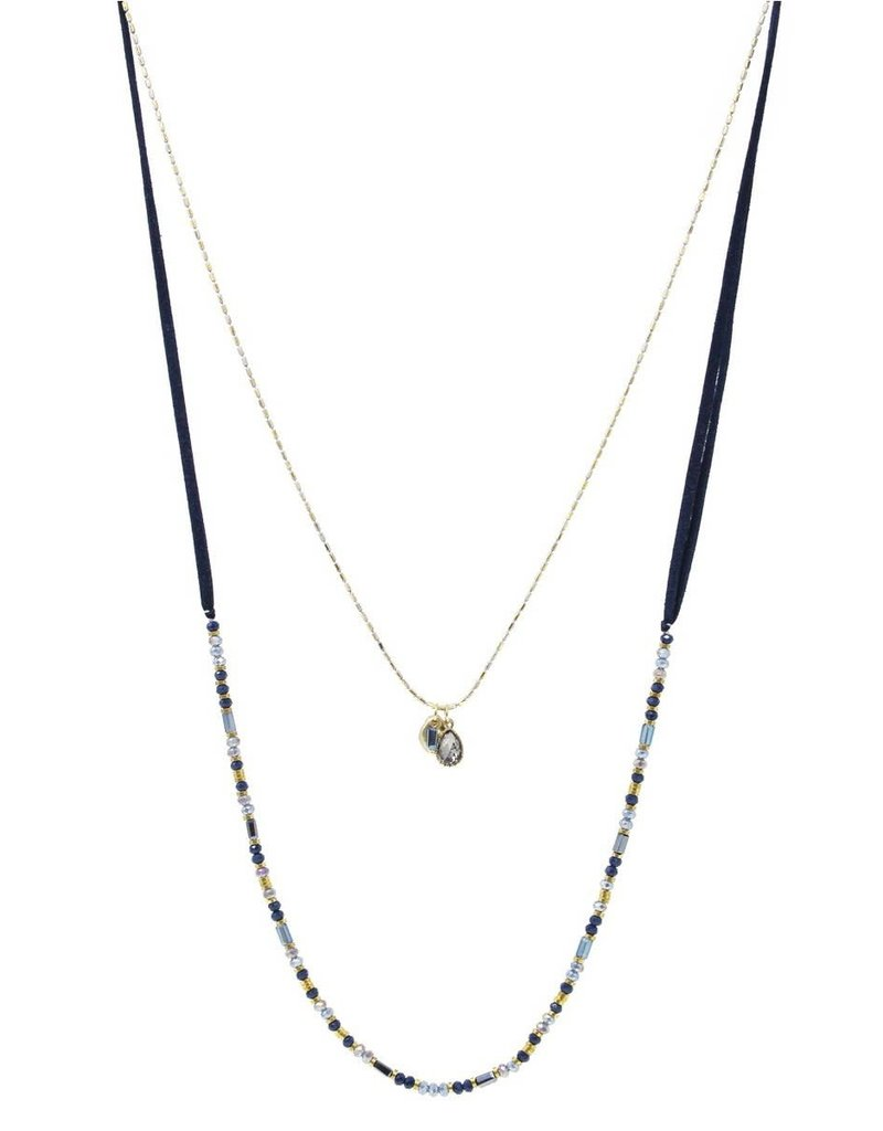 Blue Suede Jewels Long Suede & Glass Bead Necklace