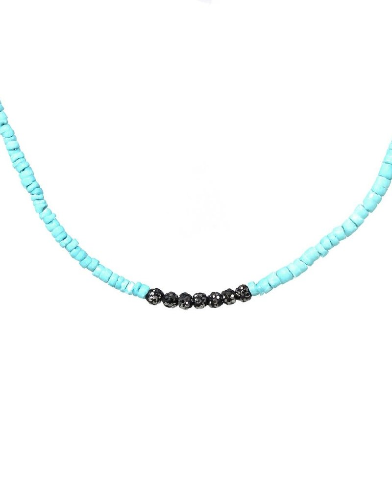 Blue Suede Jewels Delicate Pave Ball Necklace