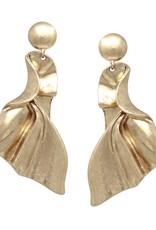Blue Suede Jewels Worn Finish Crumpled Metal Drop Earrings