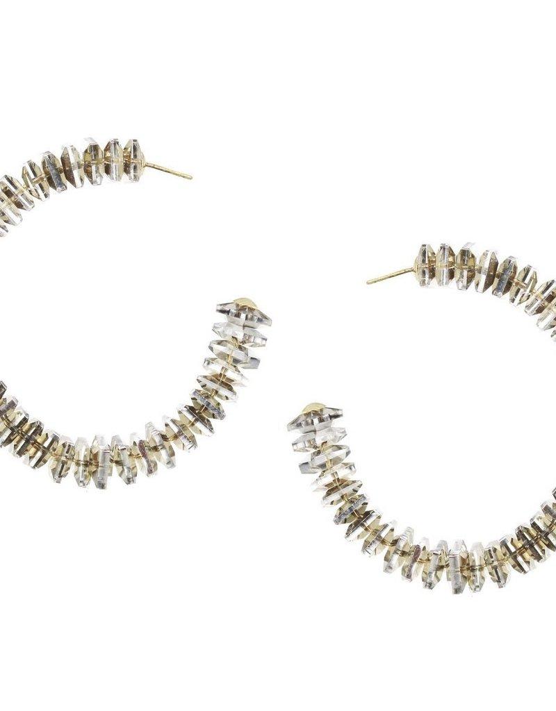 Blue Suede Jewels Flat Square Glass Beaded Hoop Earrings