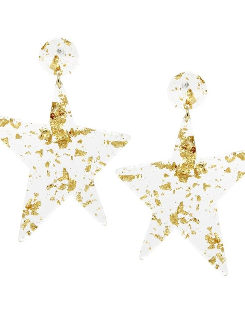 Blue Suede Jewels Clear Acetate Star Earrings
