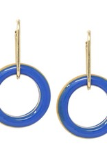Blue Suede Jewels Painted Wooden Drop Earrings