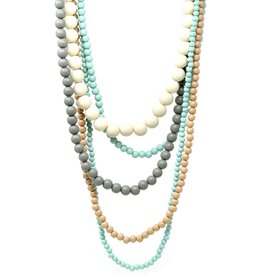 Blue Suede Jewels Wooden Bead Waterfall Necklace
