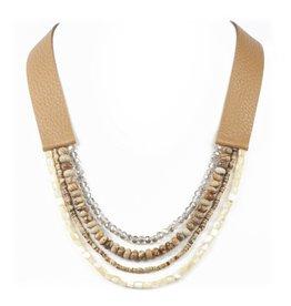 Blue Suede Jewels Leather & Semi Precious Stone Necklace