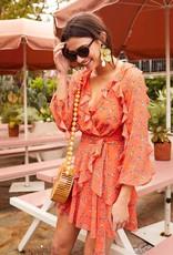 La Maison Talulah Daring Days Ruffle Dress Orange Blue