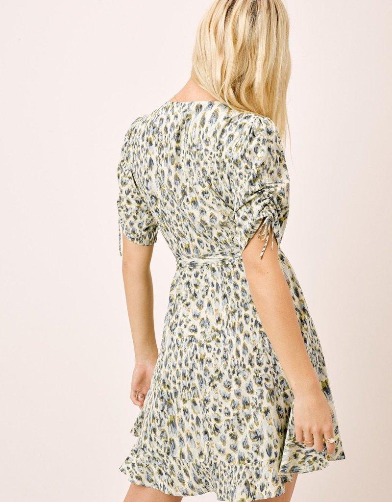 Love Stitch Watercolor Animal Print Faux Wrap Dress