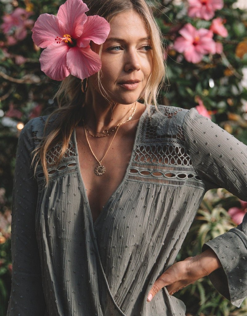 Love Stitch Bell Sleeve Crochet Faux Wrap Top