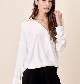 Love Stitch Long Sleeve Surplice Top