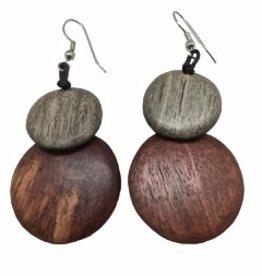 Sweet Lola Wooden Disc Earrings