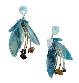 Sweet Lola Blue Resin Flower Earrings