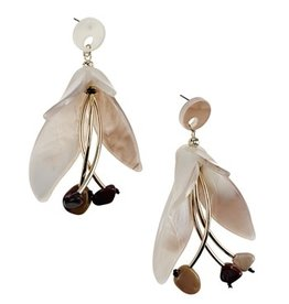 Sweet Lola Light Brown Resin Flower Earrings
