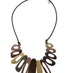 Sweet Lola Irregular Wooden Ovals Necklace