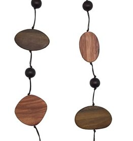 Sweet Lola Long Necklace with Wooden Discs