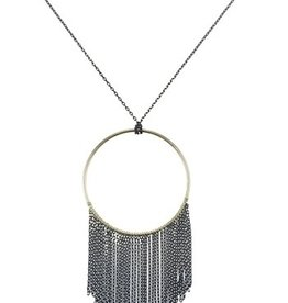 Sweet Lola Black Gold Circle with Fringe Necklace