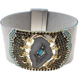 Sweet Lola Gray Suede & Natural Druzy Bracelet