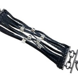 Sweet Lola Black Leather with Clear Crystal Beads
