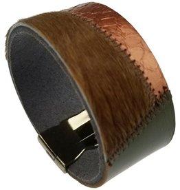 Sweet Lola Metallic Rust & Olive Patchwork Leather Bracelet