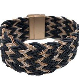 Sweet Lola Black and Tan Woven Bracelet