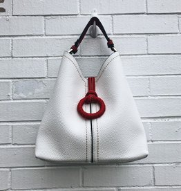 Empire Multi Color Bucket Bag in White / Red