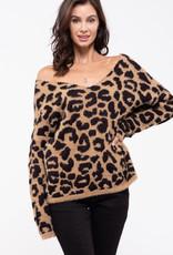 Blu Pepper Leopard Fuzzy Sweater